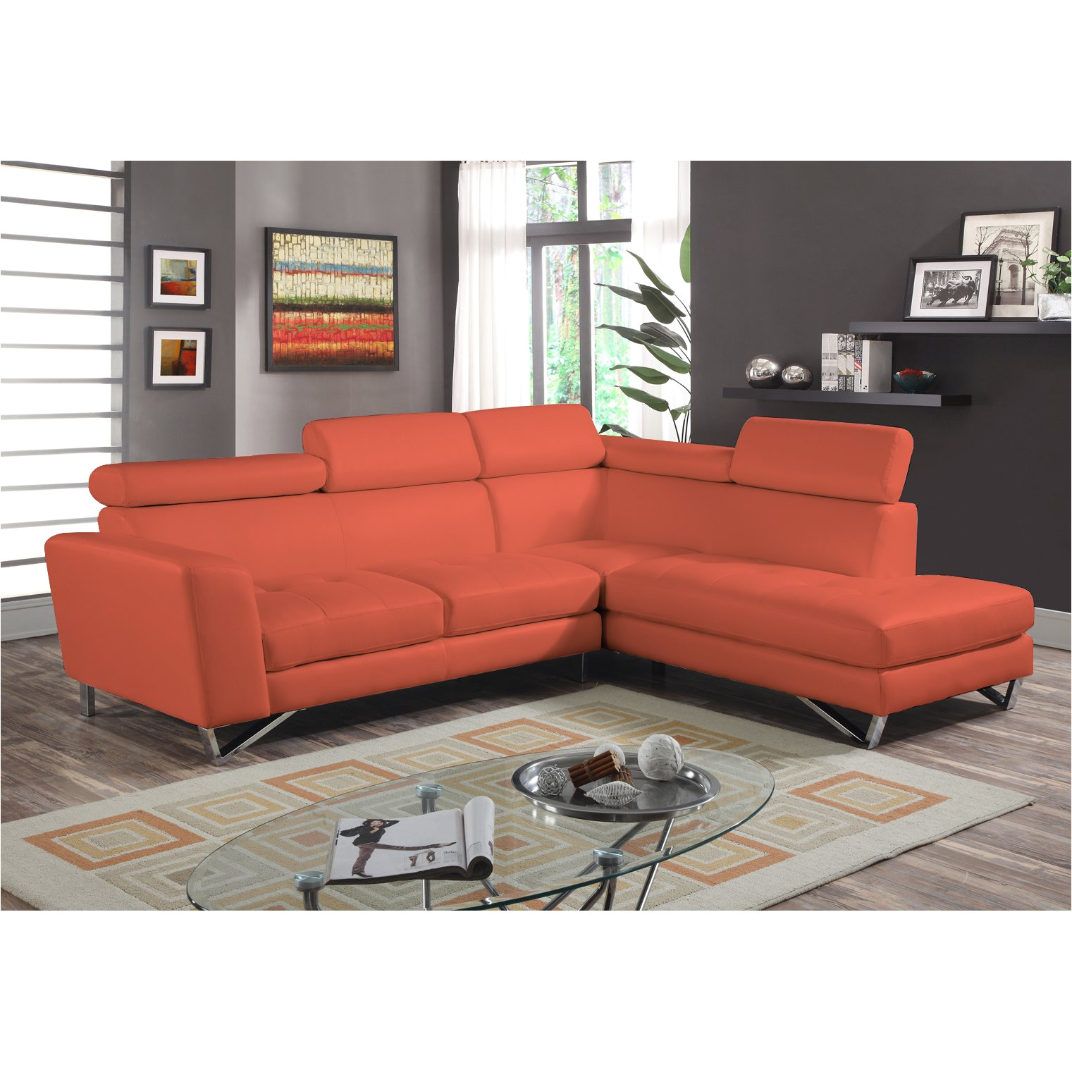 shop 2pc sectional orange microfiber free shipping today overstock com 9969937