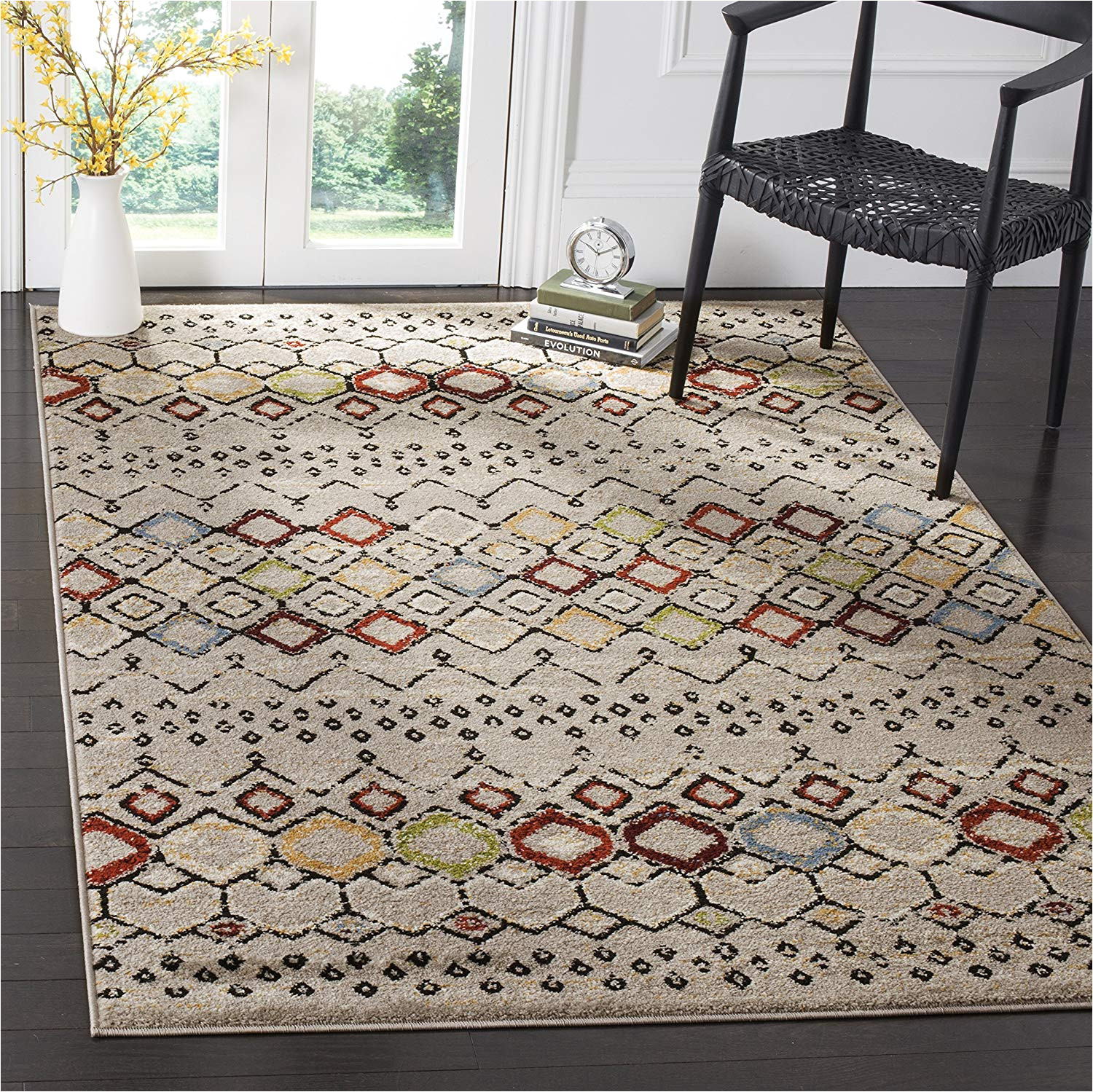 amazon com safavieh amsterdam collection ams108g southwestern bohemian light grey and multi area rug 10 x 14 kitchen dining