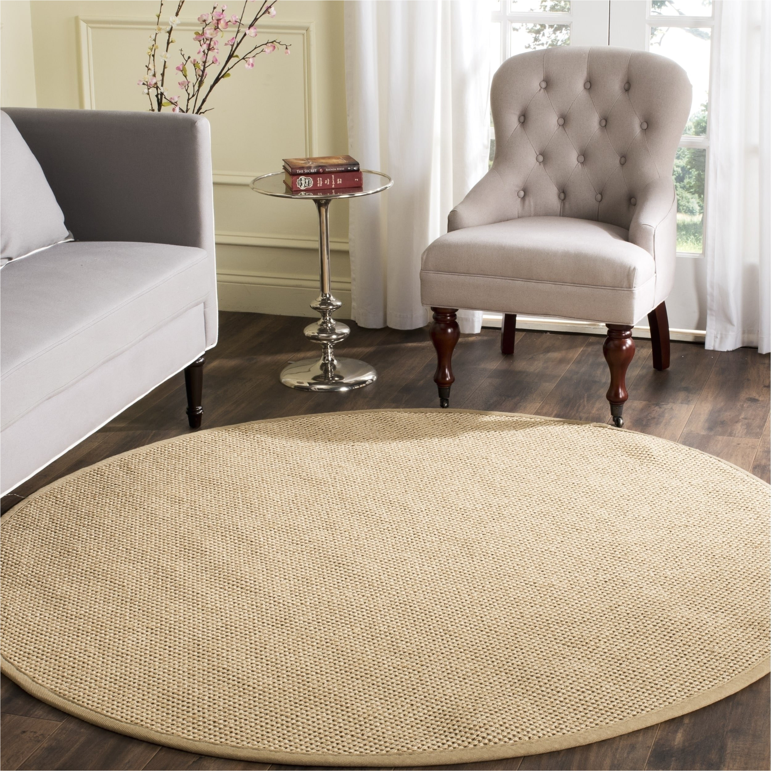 shop safavieh casual natural fiber natural maize ivory linen sisal area rug 8 x 8 round on sale free shipping today overstock com 13312062
