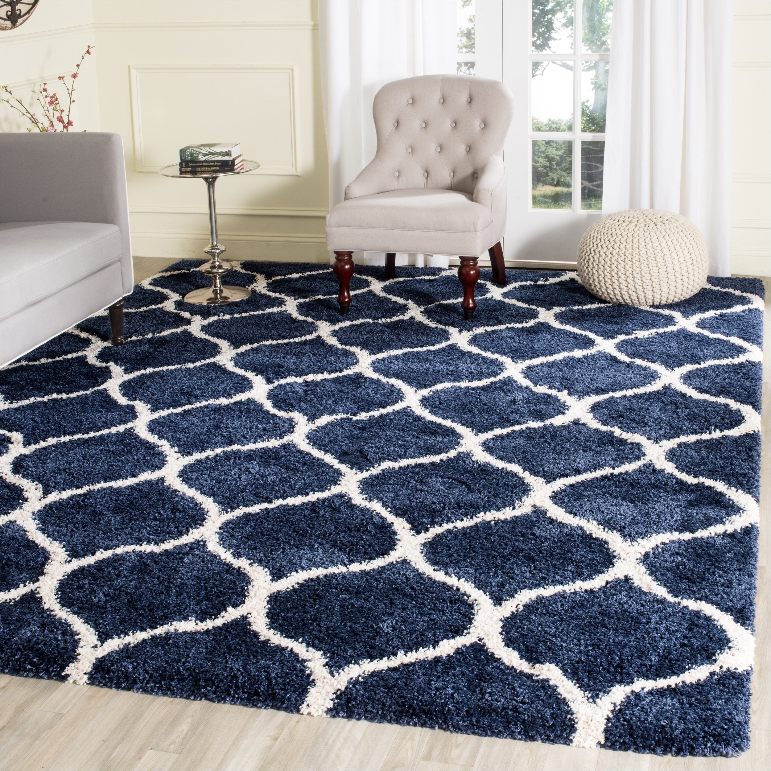 shop safavieh hudson shag modern ogee navy ivory large area rug 10 x 14 on sale free shipping today overstock com 11739332