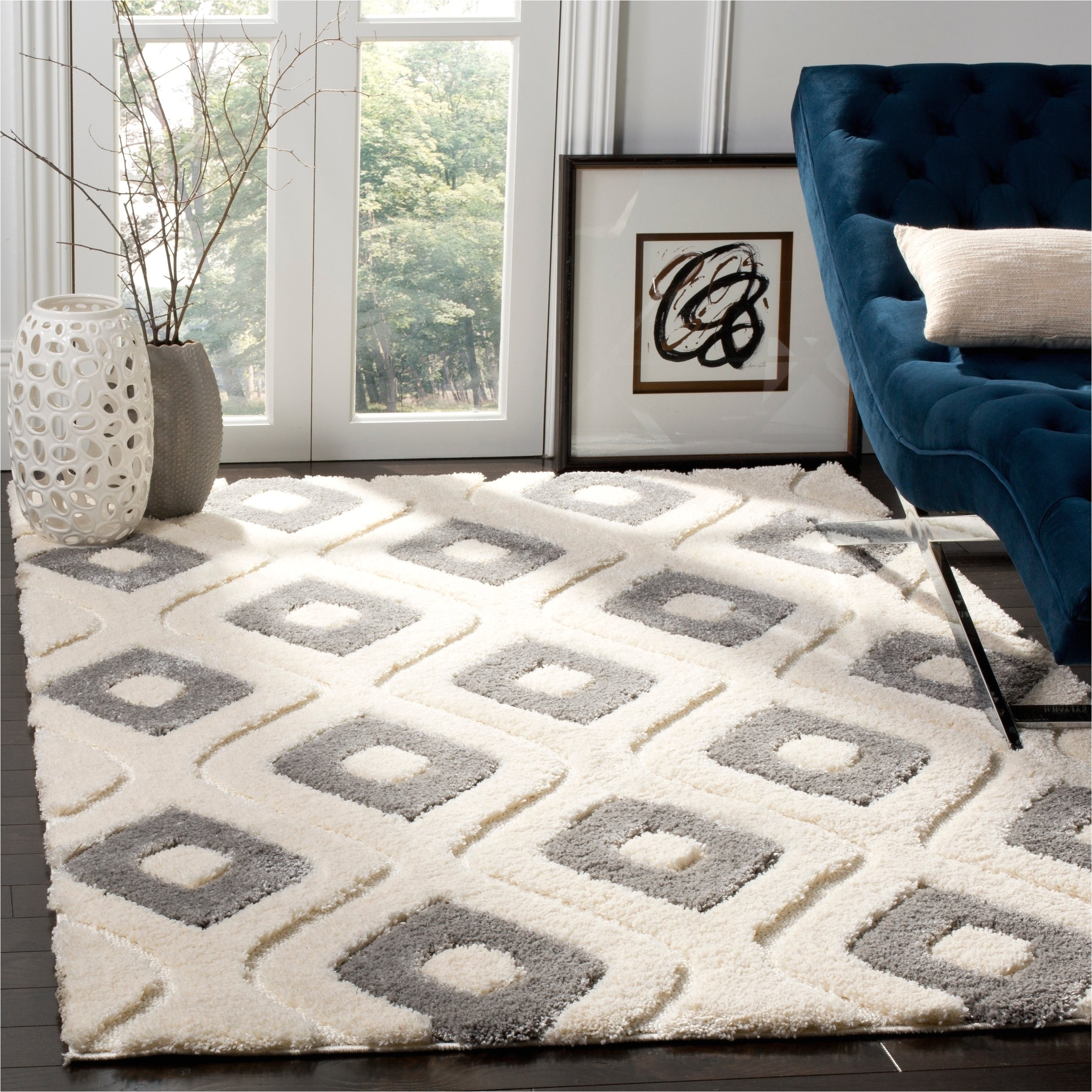 shop safavieh olympia shag cream grey polyester rug 8 x 10 on sale free shipping today overstock com 18732616
