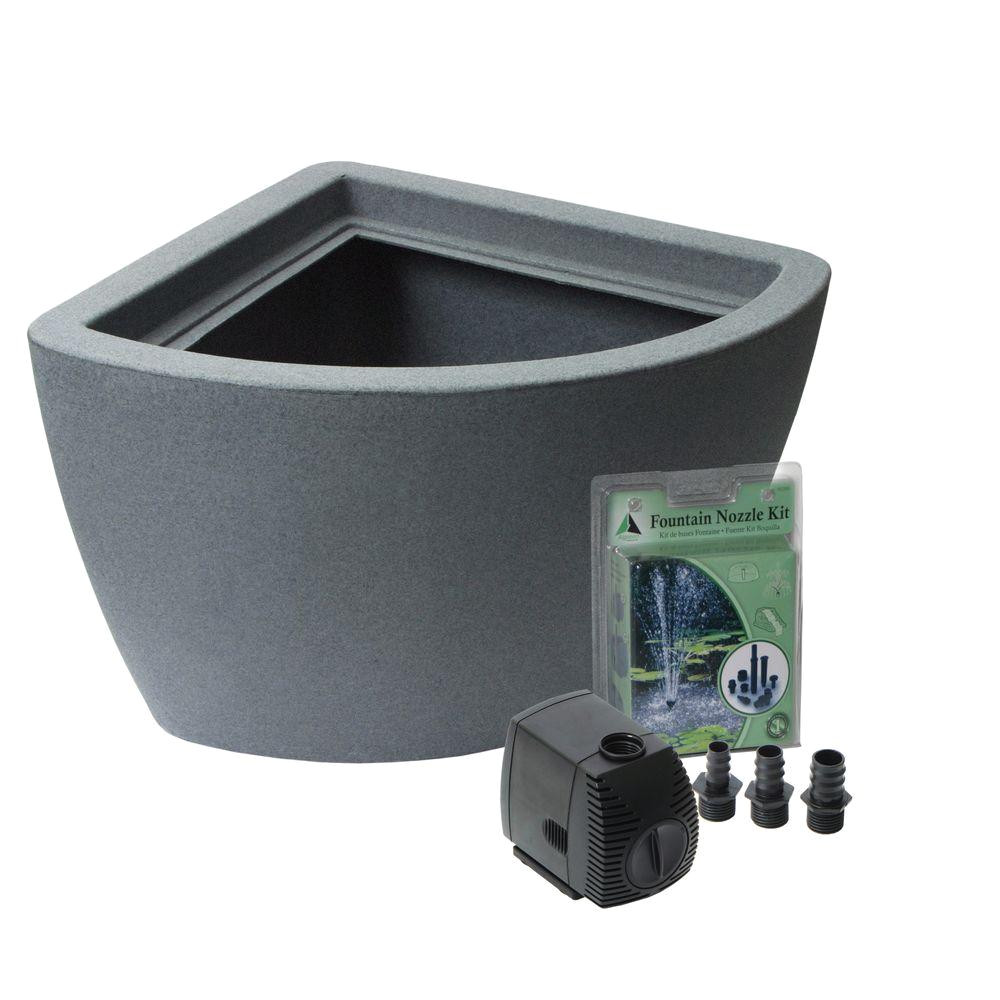hampton 35 gal no dig pond kit in charcoal