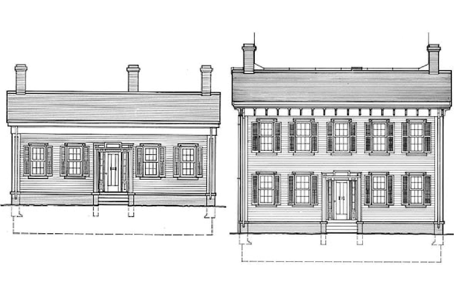 elevation drawings the lincoln home from one and a half story to