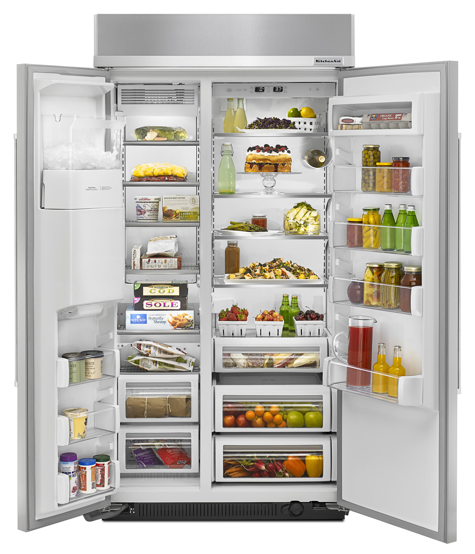 kitchenaid kbsd602ess 25 0 cu ft built in refrigerator stainless steel sears outlet