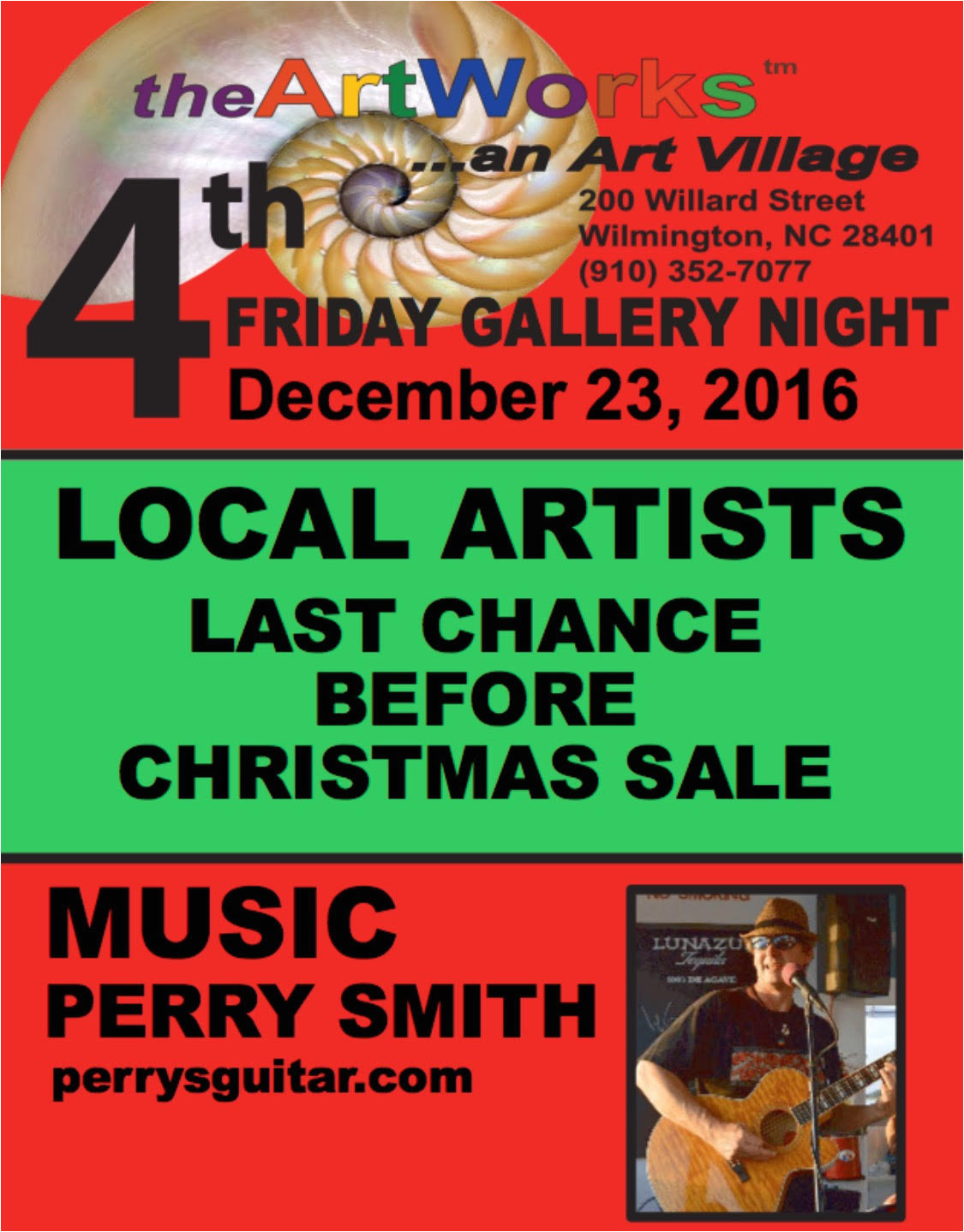 featuring our local studio artists and perry smith entertaining