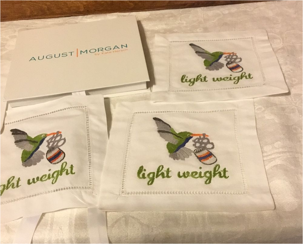 August Morgan Cocktail Napkins Set 4 Light Weight Hummingbird Hand Embroidered Cocktail Napkins