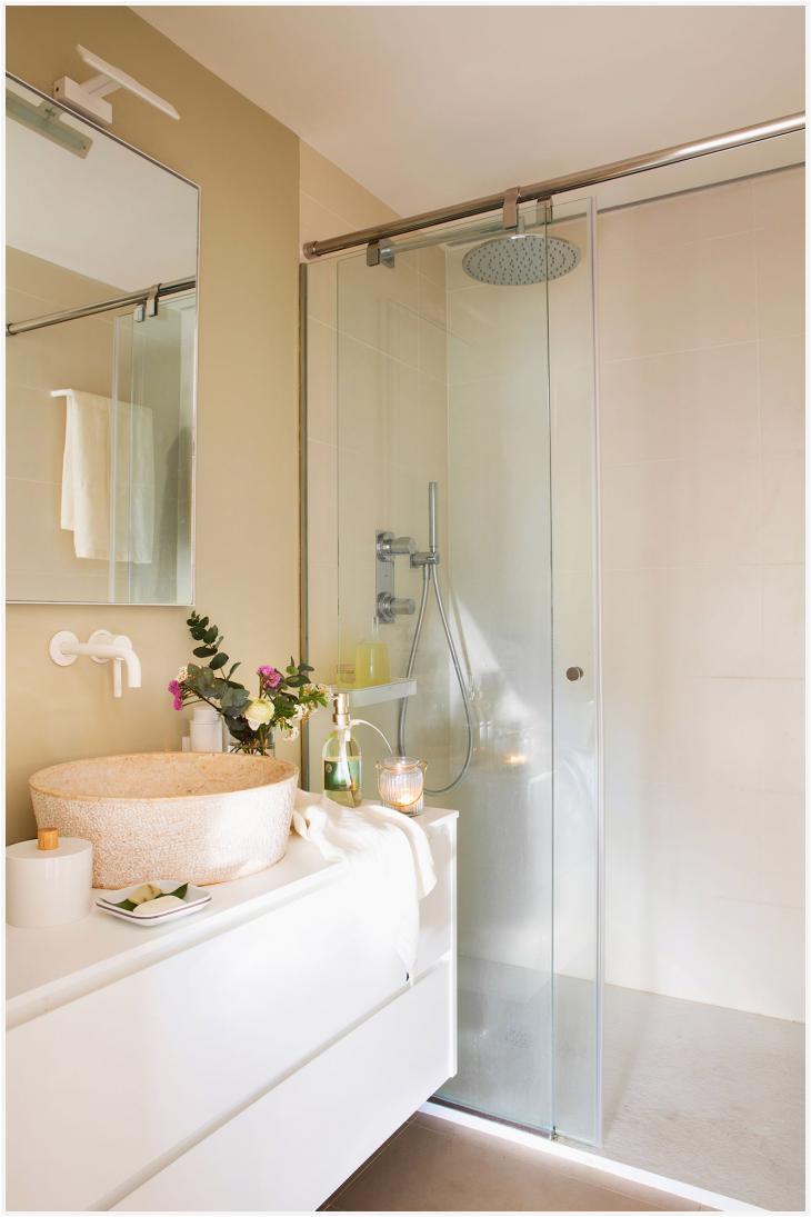 good bao con mueble volado blanco y ducha con mampara corredera with ideas mamparas de ducha
