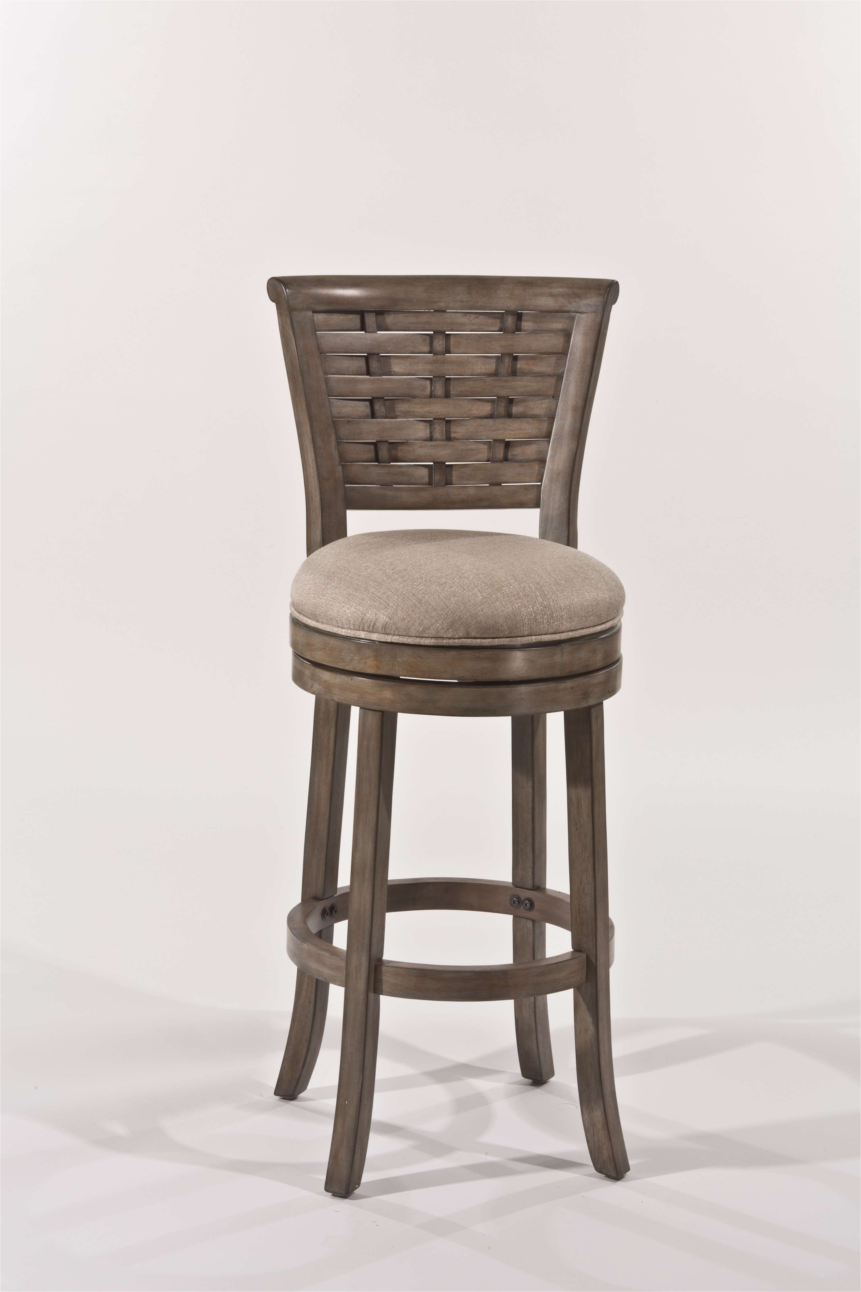 thredson putty leatherette swivel bar stool in light antique graywash finish