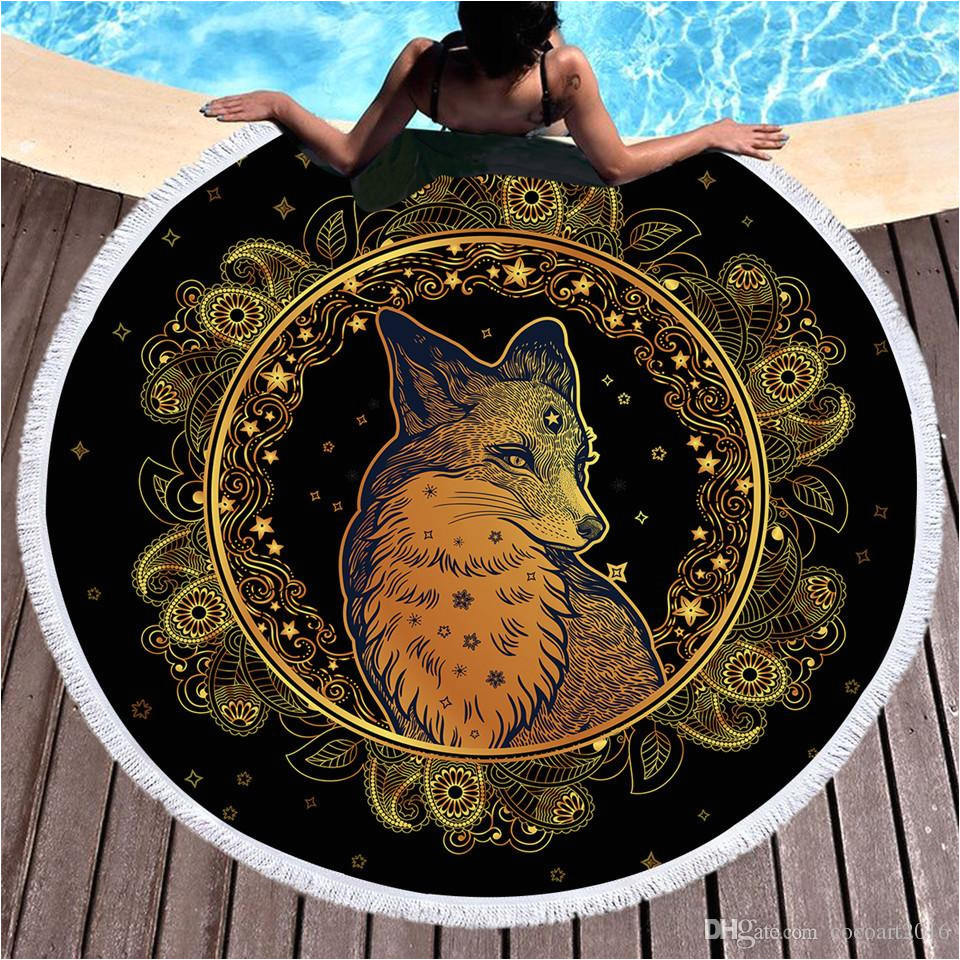 golden fox round beach towel microfiber animal stars leaves flowers bath towel tassels paisley picnic mat toallas bath sheet hand towel from cocoart2016