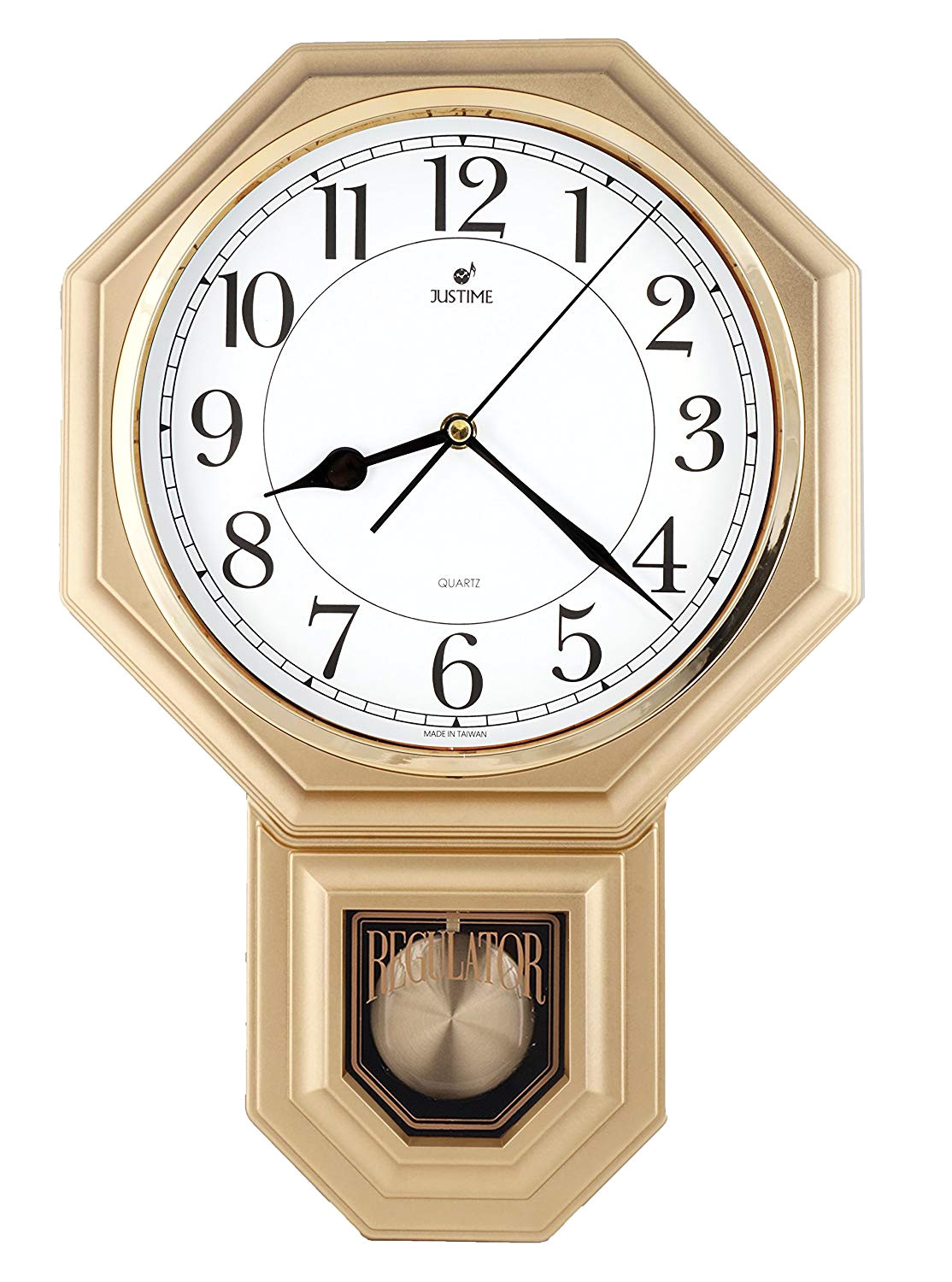 amazon com traditional schoolhouse easy to read pendulum wall clock chimes every hour with westminster melody made in taiwan 4aa batteries included