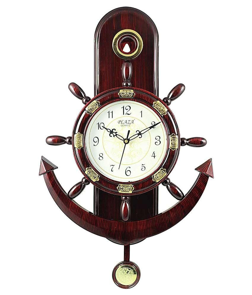plaza brown pendulum wall clock