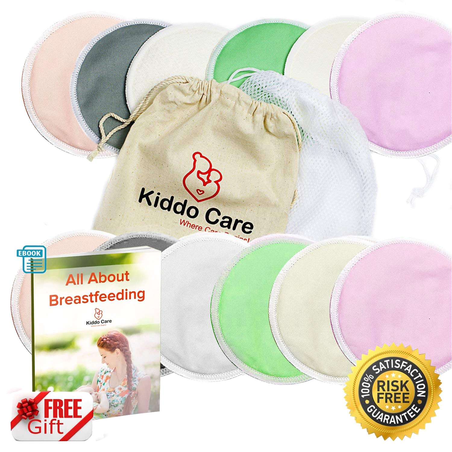 kiddo care washable organic bamboo nursing pads 12 pack colored 6 pairs reusable breast pads bra pads leakproof ultra soft waterproof