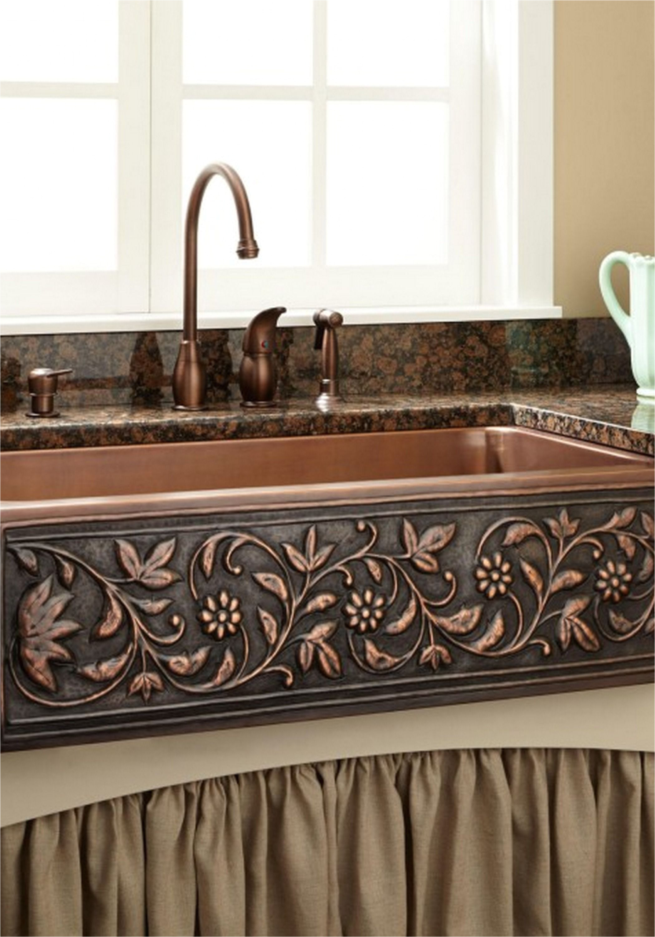 add a touch of natural beauty to your kitchen with this copper farmhouse sink pair it with a rustic kitchen faucet for a shabby chic style that will