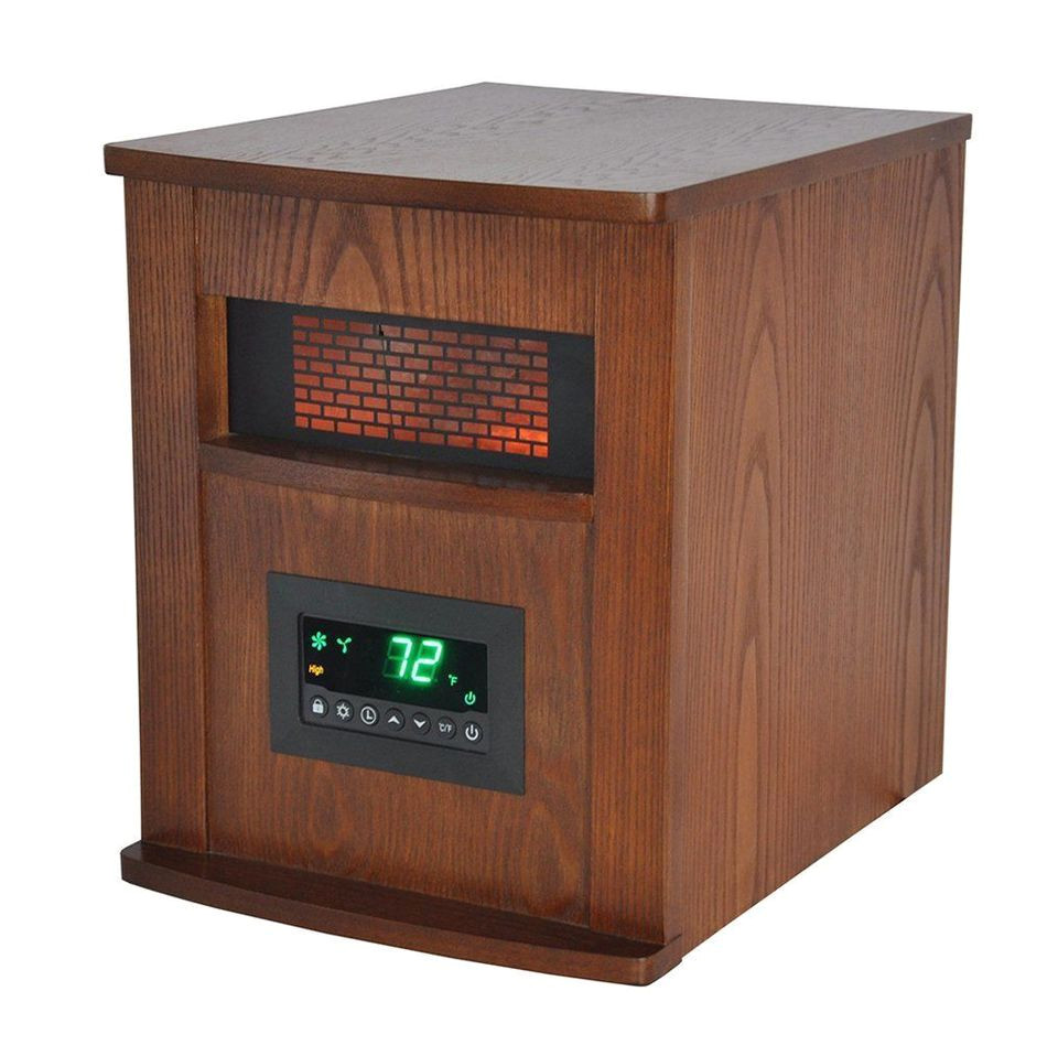 lifesmart 6 element large room infrared quartz heater w wood cabinet and remote