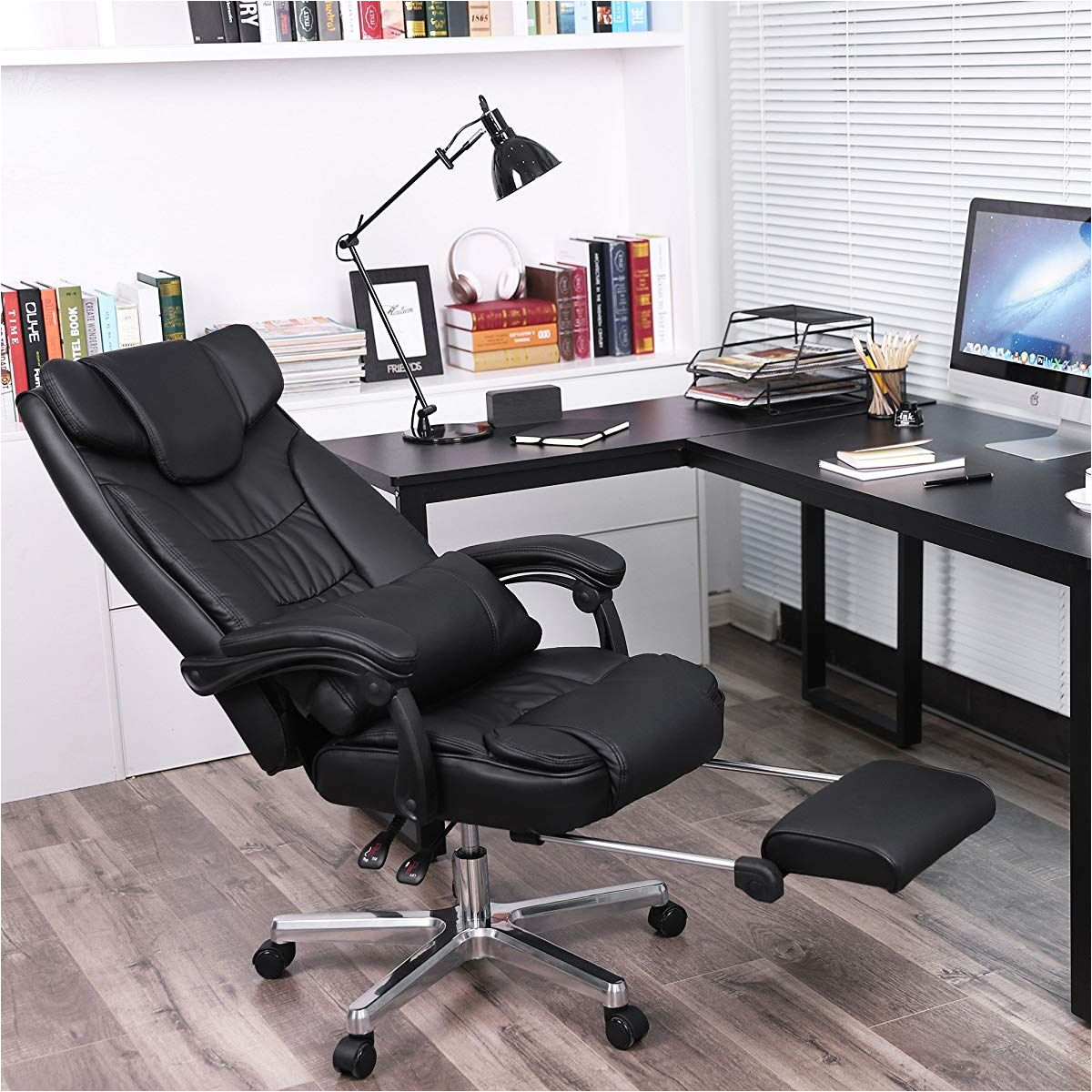 gaming swivel chair with foldable headrest
