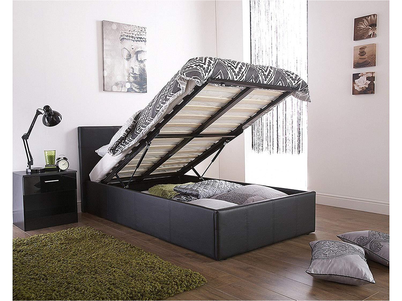 caspian ottoman gas lift up storage bed black 3ft single amazon co uk kitchen home