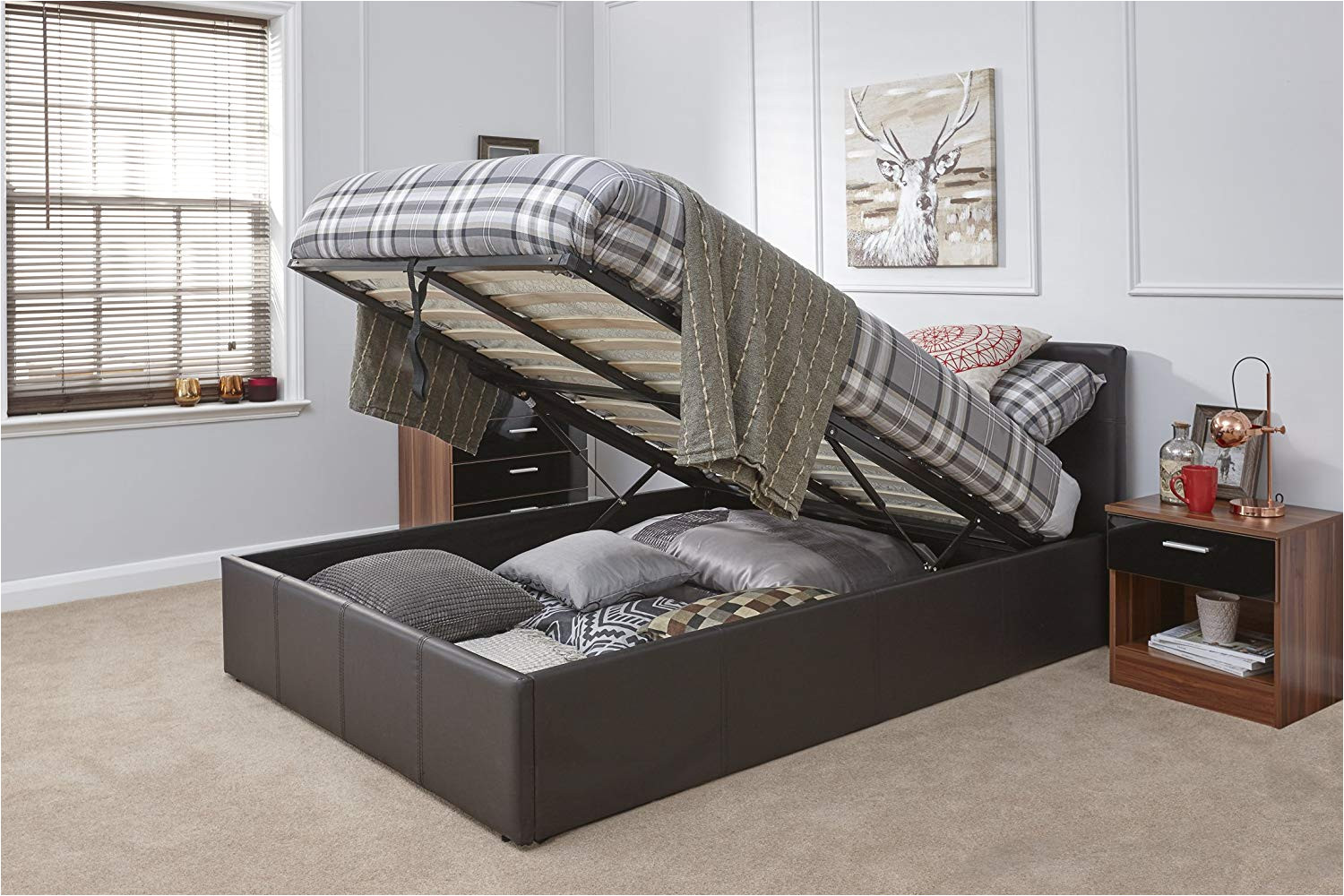 caspian ottoman gas lift up storage bed brown 4ft6 double amazon co uk kitchen home