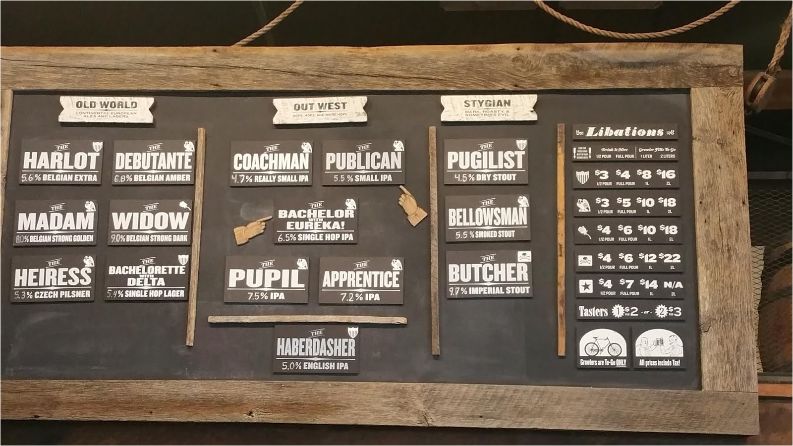 the big board of beers