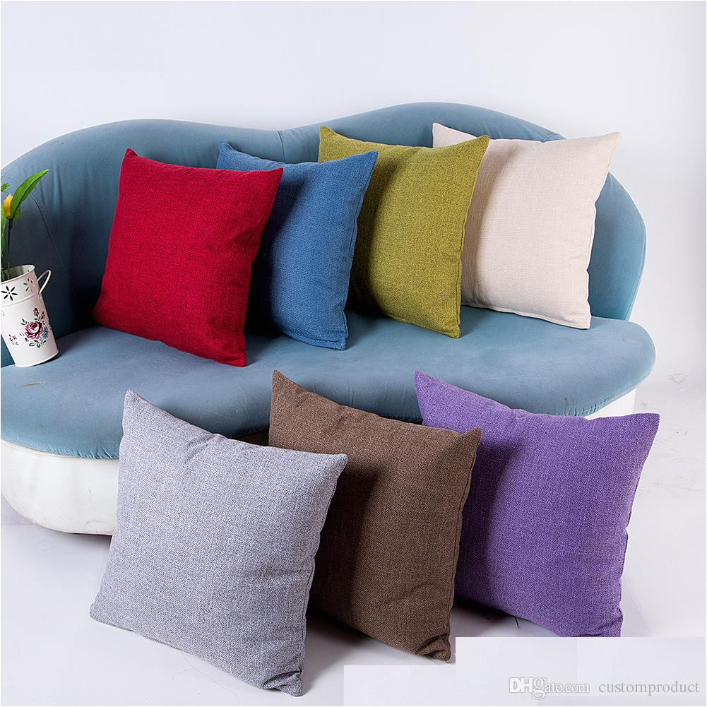 100pcs lot plain candy color 110g linen pillow case blank decorative cushion cover can be customized print design free dhl