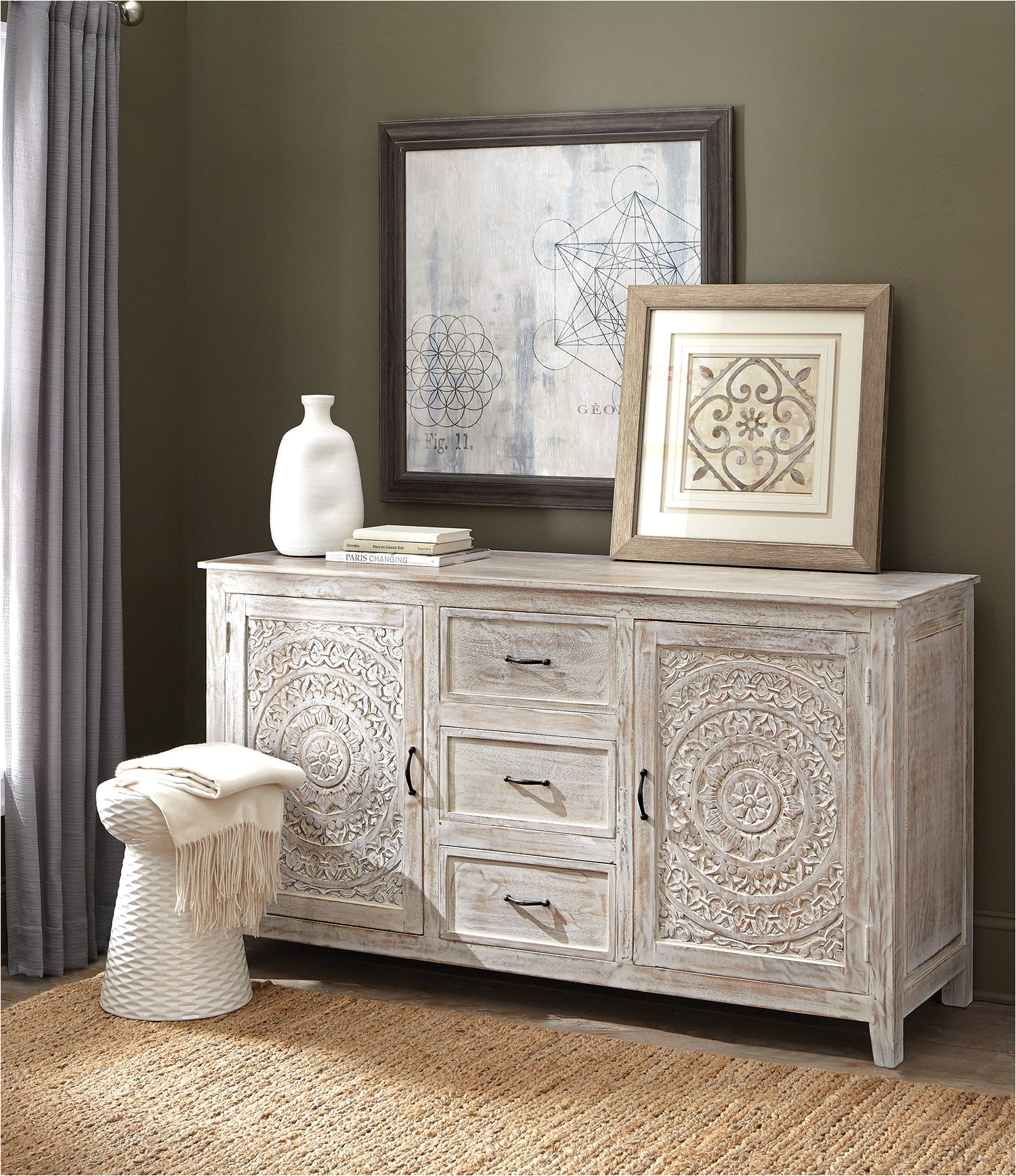 lots of storage and style loving our chennai dresser for the bedroom a detailed design on the doors gives it standout appeal a gorgeous whitewash finish