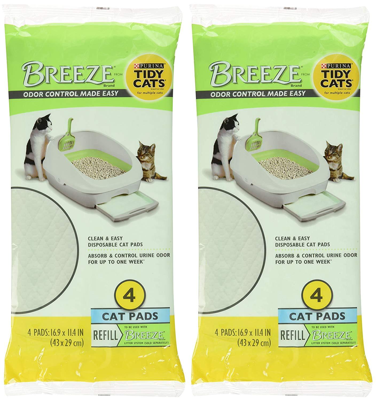 amazon com tidy cats breeze litter pads 16 9 x11 4 2 pack of 4 pads 2 pack 4 set of 2 pack pet supplies