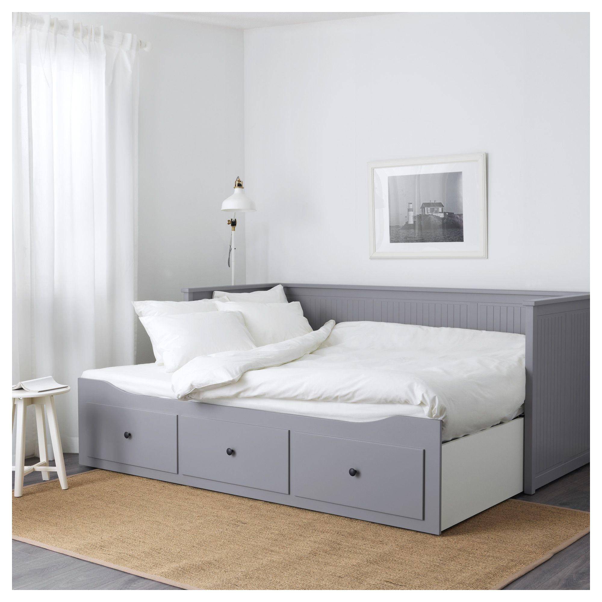 hemnes day bed frame with 3 drawers grey 80 x 200 cm office