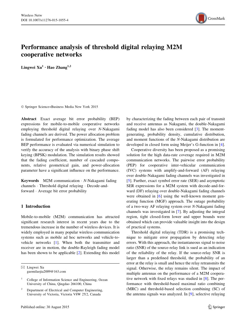 pdf performance analysis of threshold digital relaying m2m cooperative networks