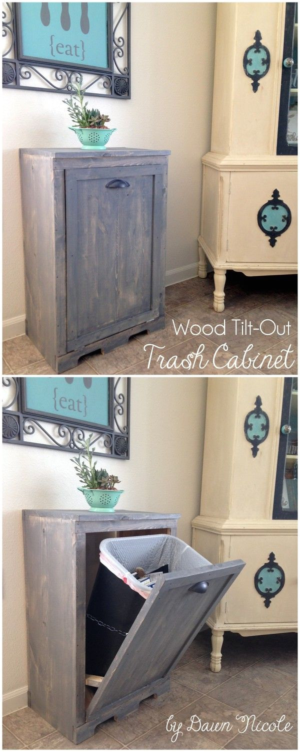 wooden tilt out trash can cabinet free diy plans at bydawnnicole com dog owners would kill for this