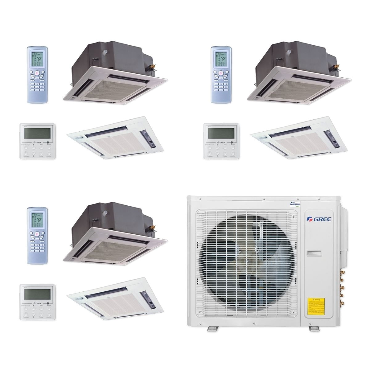 shop gree multi30ccas307 30 000 btu multi21 tri zone ceiling cassette mini split a c heat pump 208 230v 12 12 18 a c heater free shipping today