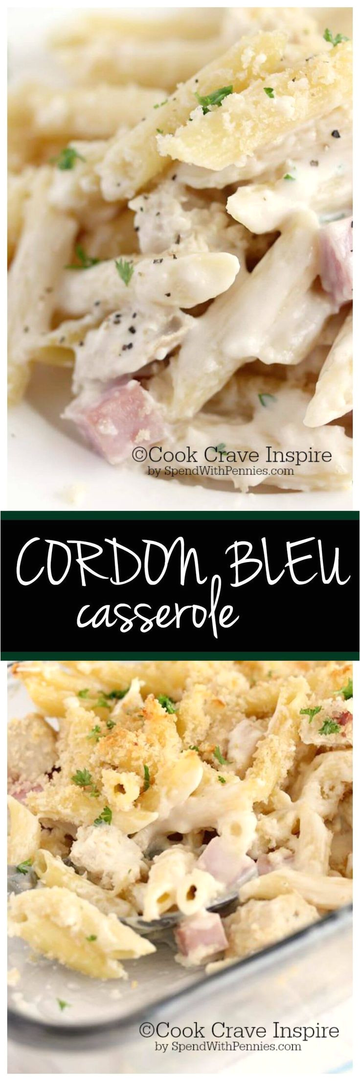 this delicious creamy cordon bleu casserole is loaded with chicken ham swiss it s