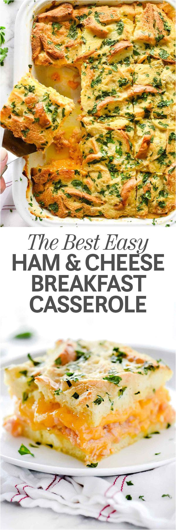 breakfast for a crowd has never been easier thanks to this incredibly easy to assemble make ahead ham and cheese breakfast casserole that some may call a