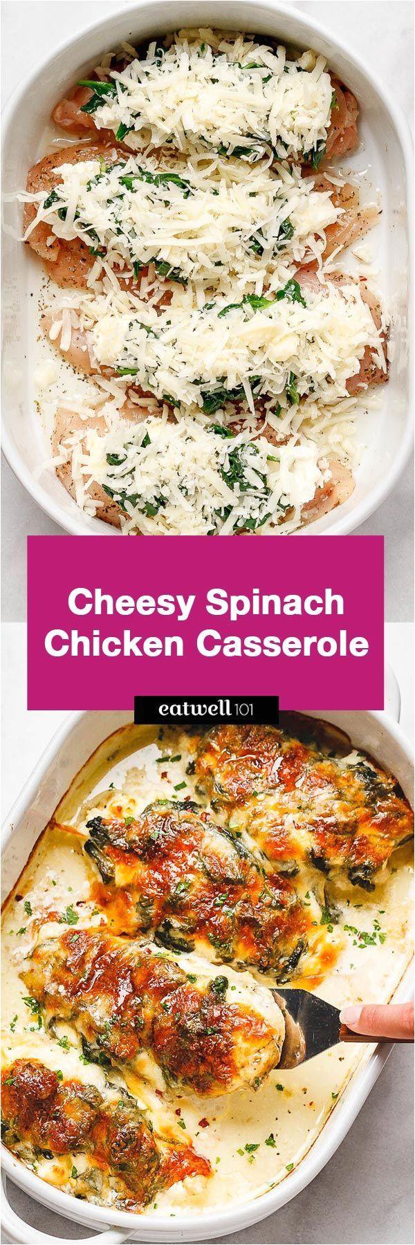spinach chicken casserole with cream cheese and mozzarella