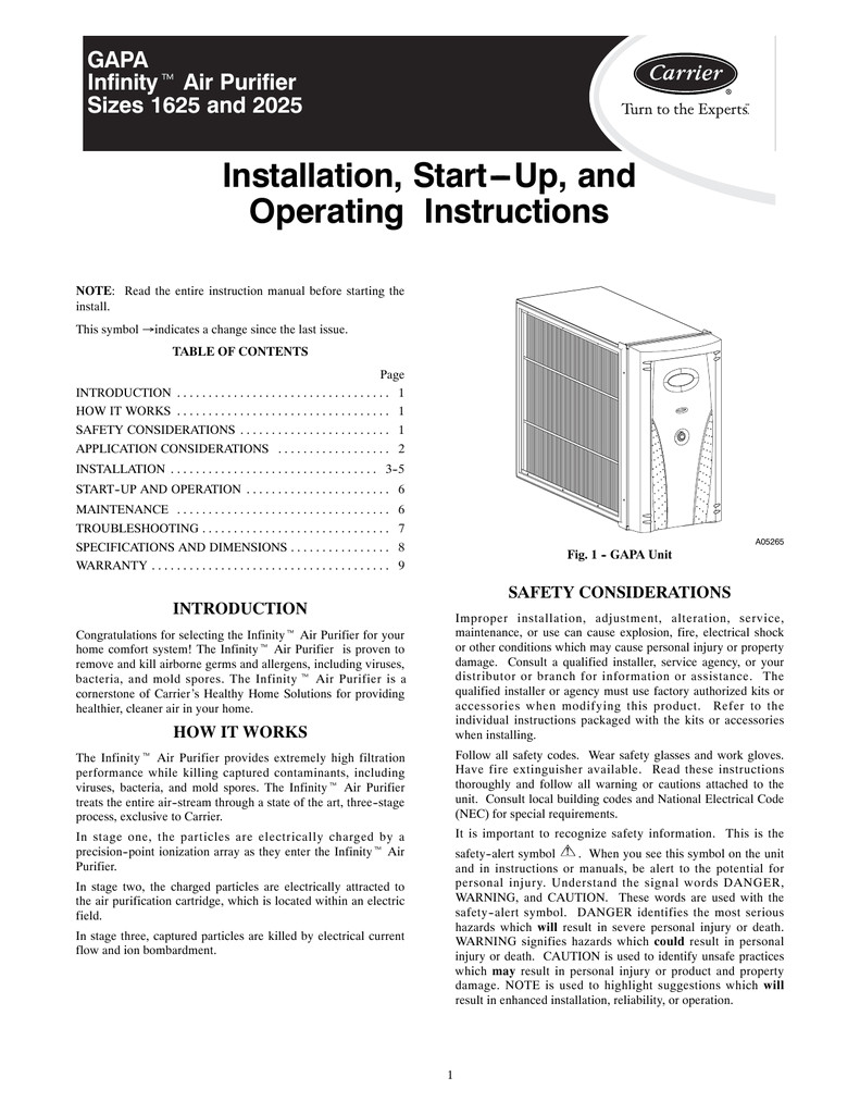 Carrier Infinity thermostat Operating Manual Carrier 1625 Air Cleaner User Manual Manualzz Com