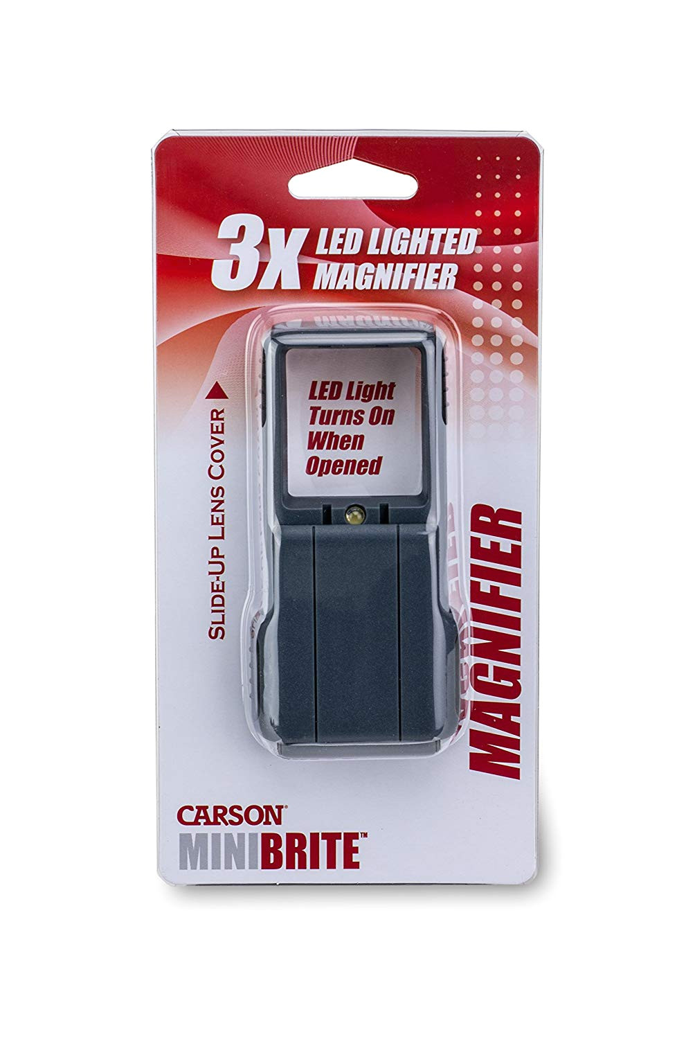 amazon com carson minibrite 3x power led lighted slide out magnifier with protective sleeve po 25 kitchen dining