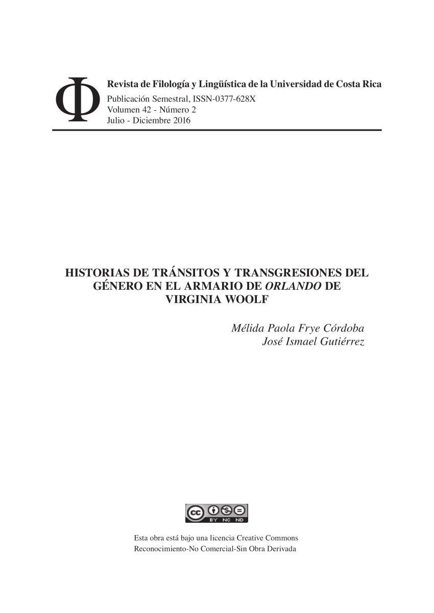 pdf historias de transitos y transgresiones del genero en el armario de orlando de virginia woolf