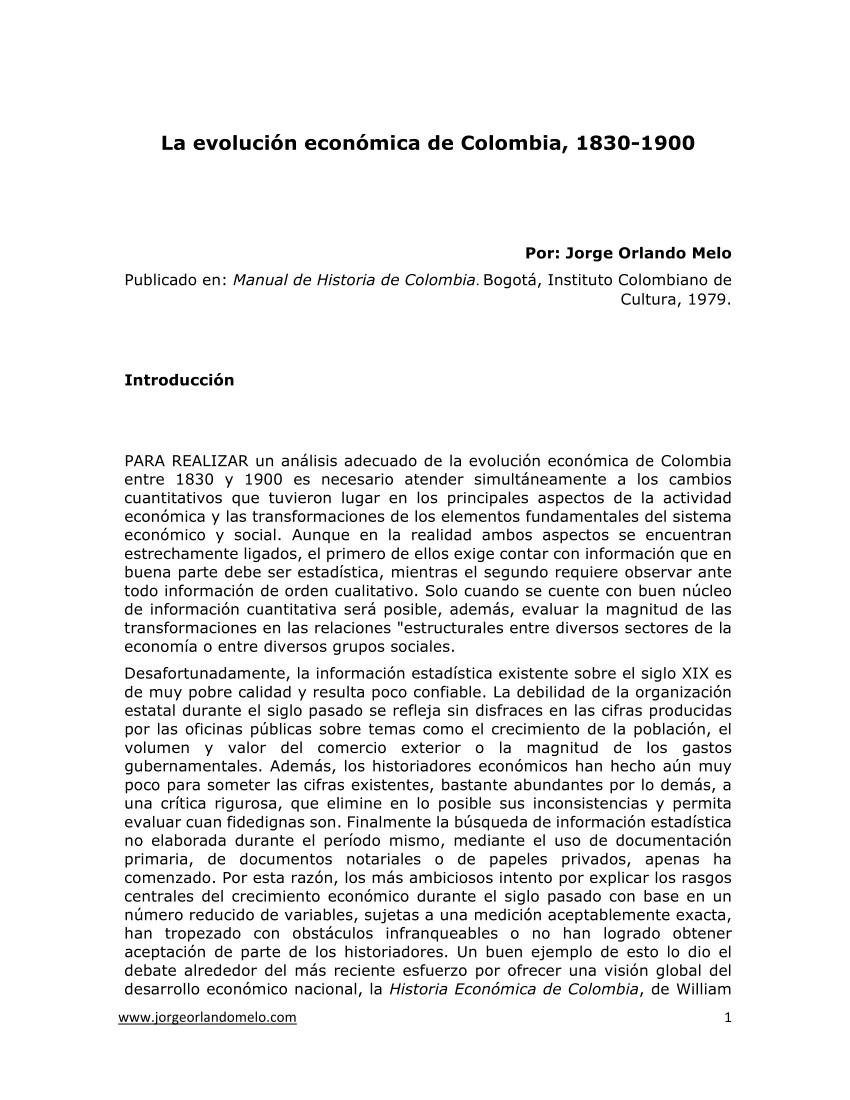 pdf la evolucia n econa mica de colombia en el siglo xix 1830 1900