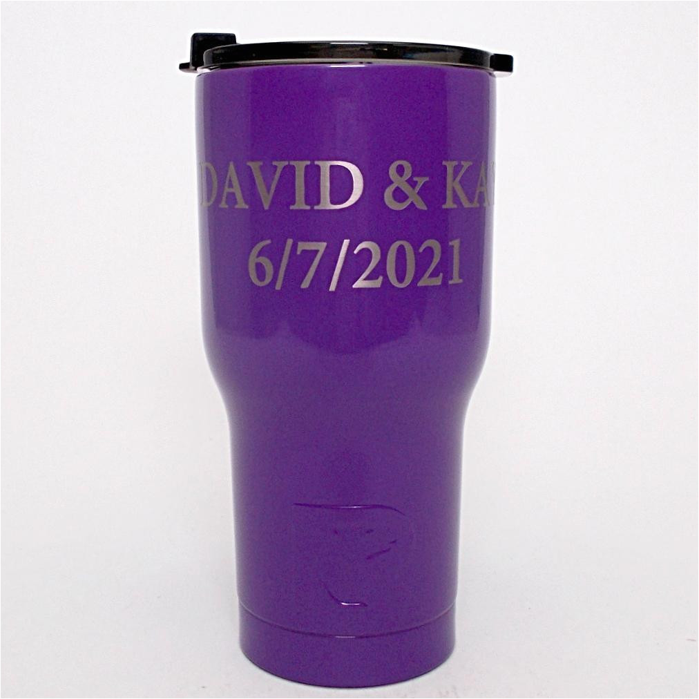 20 oz personalized rtic tumbler purple with up to 3 lines click here to