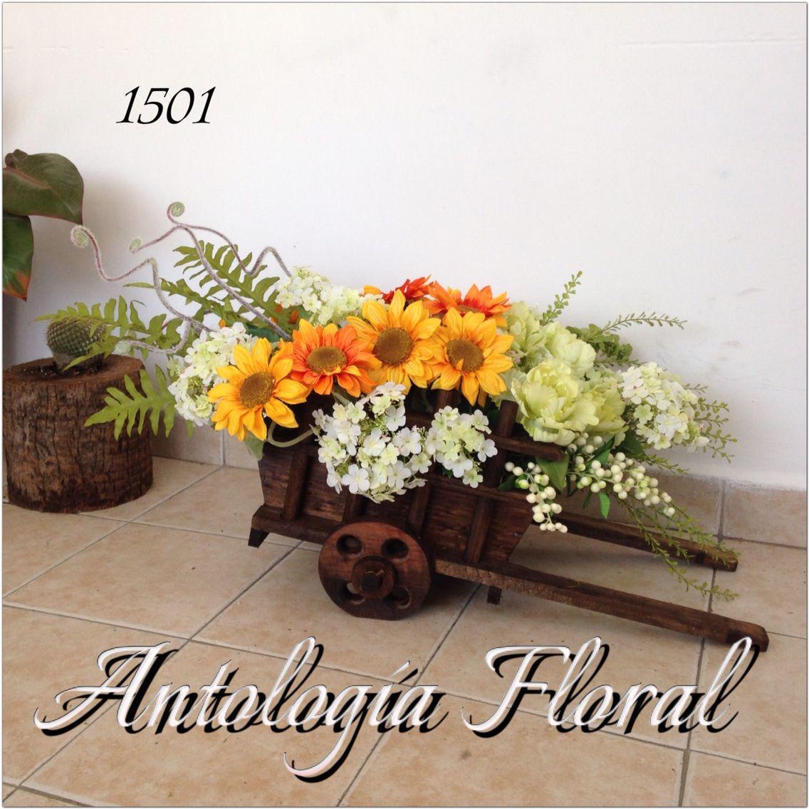 Centros De Mesa Con Flores Artificiales Arreglo De Flores Artificiales En Carreta De Madera Fitness