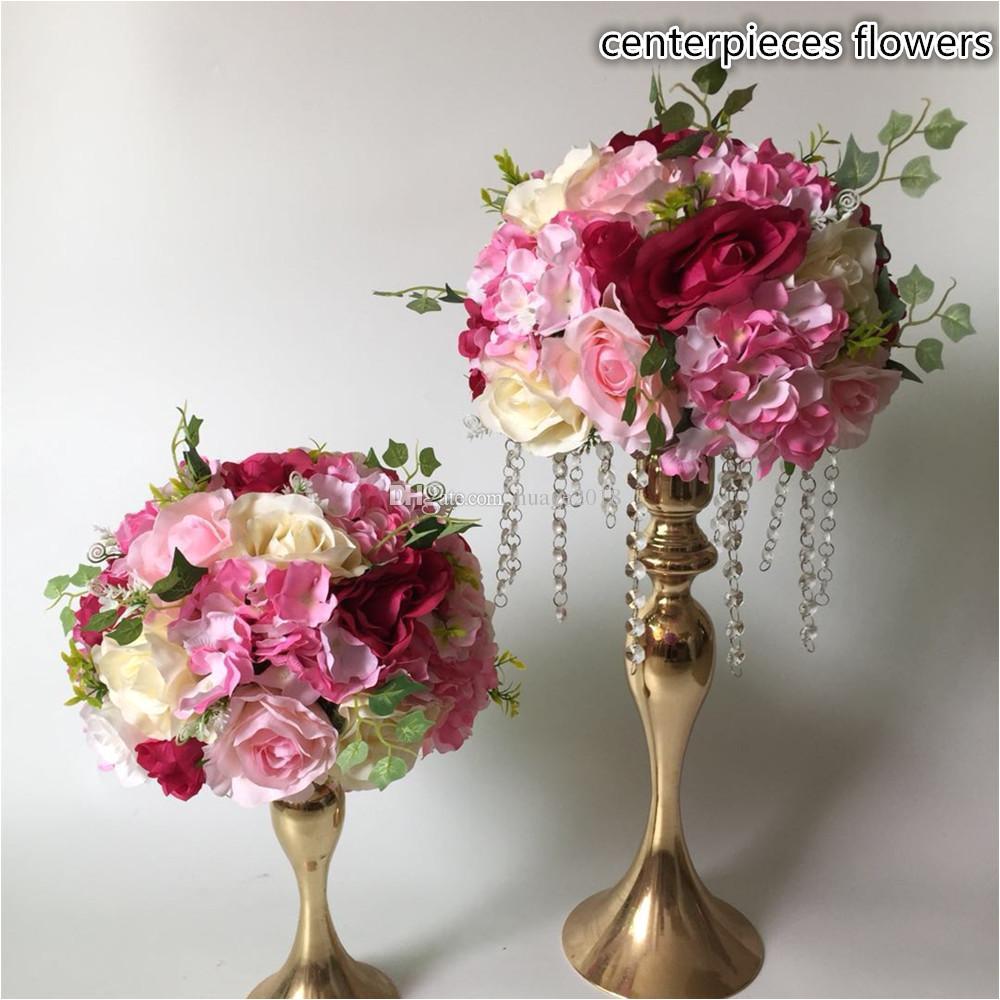 compre corredor de flores artificiales mesa de centro bolas de flores camino de la boda flor de la hortensia decoracia n de flores color de rosa a 170 86