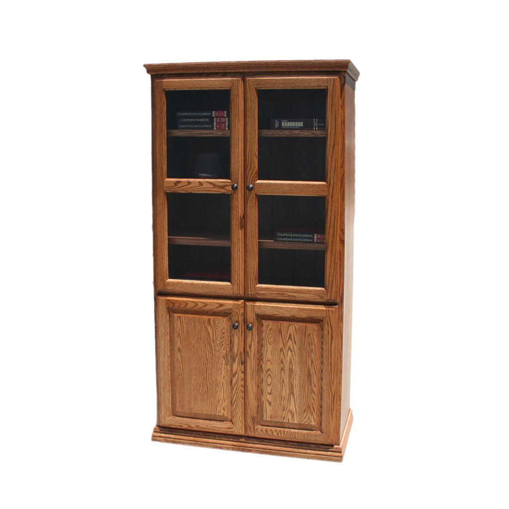 solid wood furniture albuquerque od o t3672 fd glass wood traditional oak bookcase 36