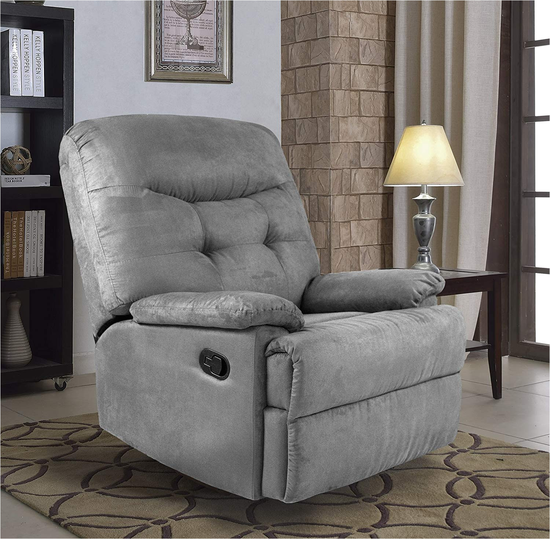 amazon com ocean bridge furniture collection big jack microfiber recliner chair grey kitchen dining