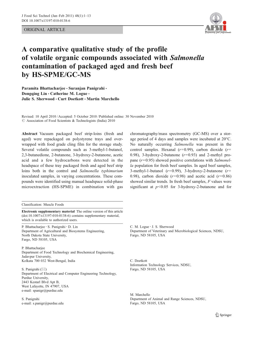 pdf a comparative qualitative study of the profile of volatile organic compounds associated with salmonella contamination of packaged aged and fresh beef