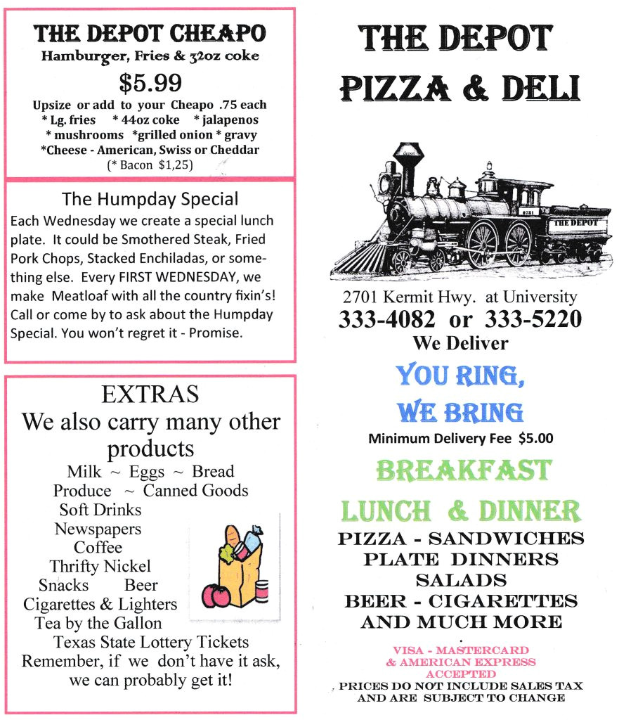 Chinese Food Midland Tx Delivery The Depot Pizza Deli Menu