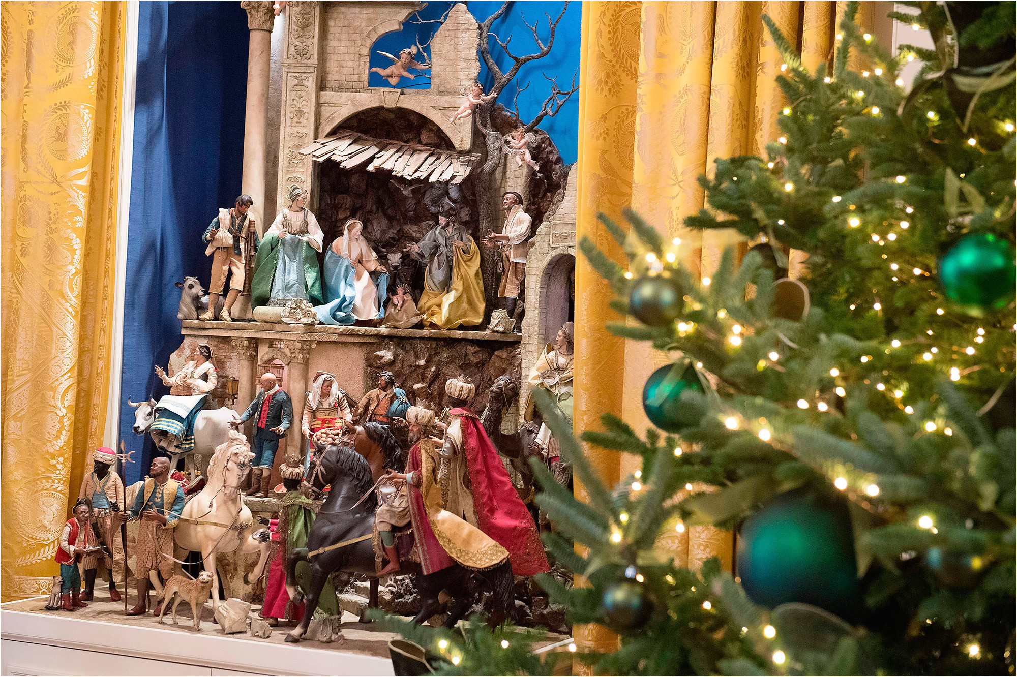 a nativity scene on display at the white house in 2017
