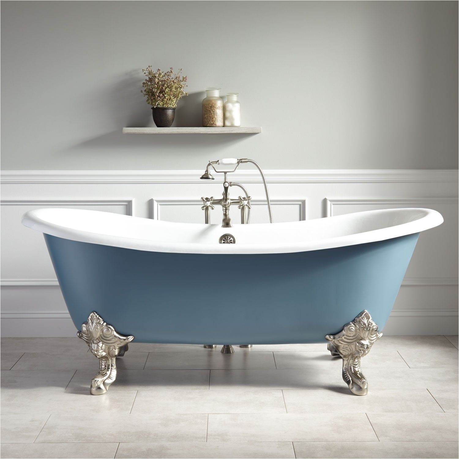 Clawfoot Tub Small Bathroom Design 72 Lena Cast Iron Clawfoot Tub Monarch Imperial Feet Slate Blue