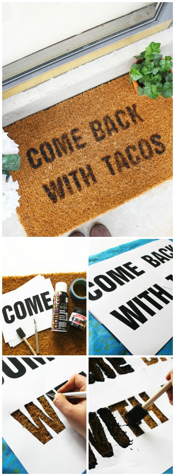 come back with tacos doormat diy