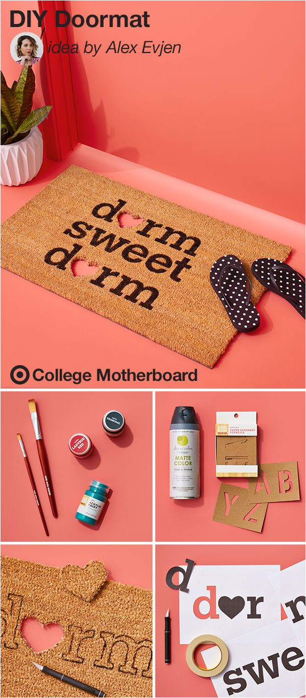help your college student make a fun first impression with this clever diy from mom pinner alex evjen all you need is a plain doormat a stencil and