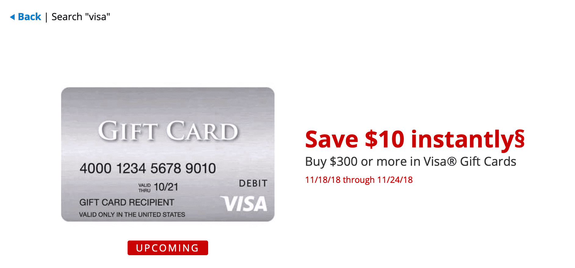 get a 10 instant discount on the purchase of 300 in visa gift cards