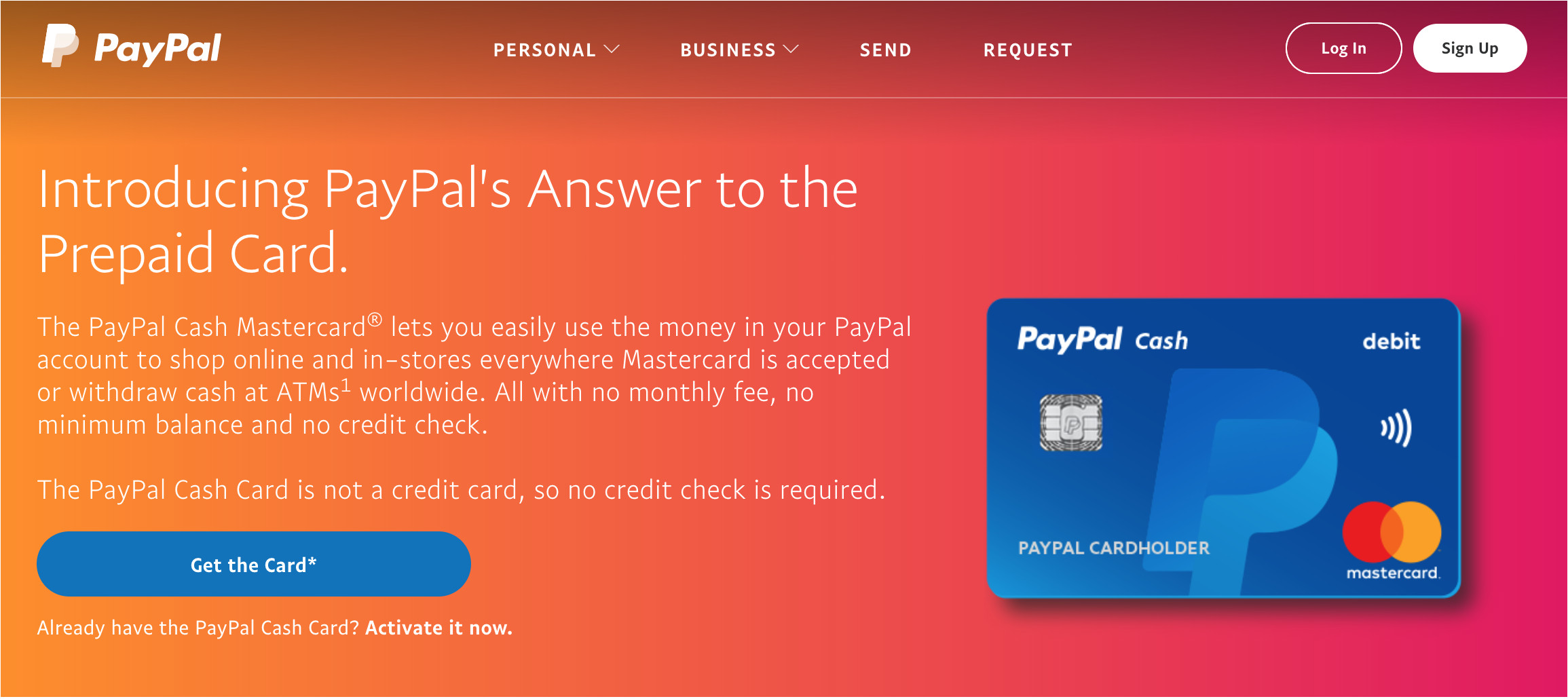 paypal cash mastercard