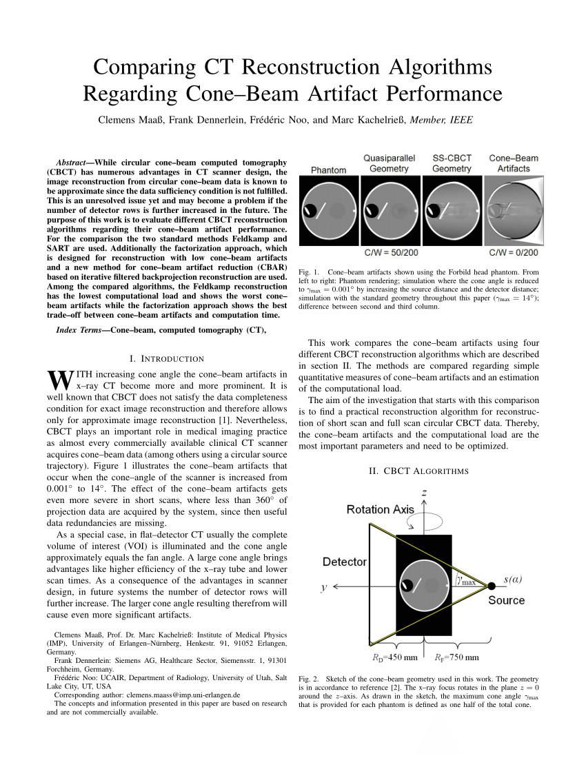 pdf comparing ct reconstruction algorithms regarding cone beam artifact performance